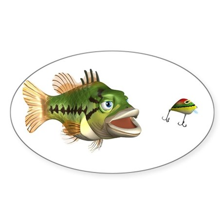 Fish and Lure Oval Sticker (10 pk)