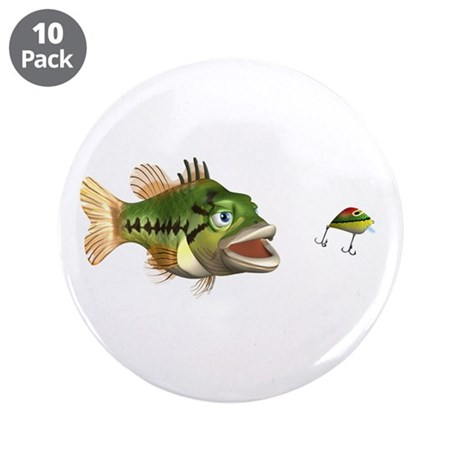 "Fish and Lure 3.5"" Button (10 pack)"