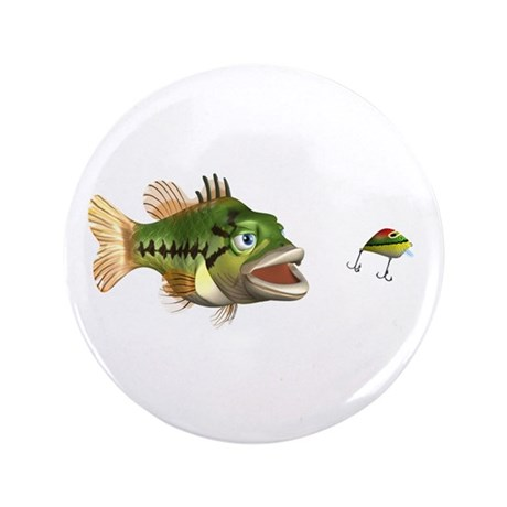 """Fish and Lure 3.5"""" Button"""