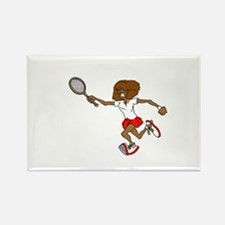 Red Tennis Player Rectangle Magnet