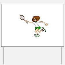 Green Tennis Player Yard Sign