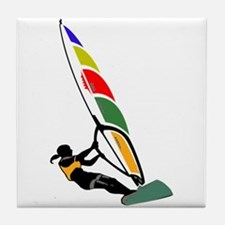 Windsurfer Colorful Tile Coaster
