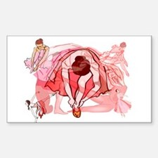Ballet Dancers Sticker (Rectangle)