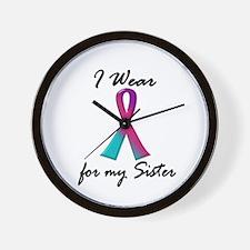 I Wear A Thyroid Ribbon 1 (Sister) Wall Clock