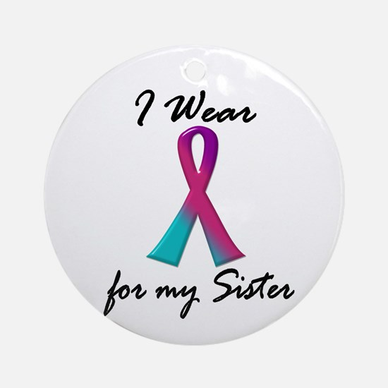 I Wear A Thyroid Ribbon 1 (Sister) Ornament (Round