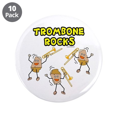 "Trombone Rocks 3.5"" Button (10 pack)"