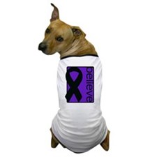 Purple (Believe) Ribbon Dog T-Shirt