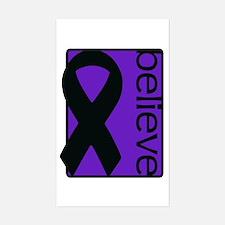 Purple (Believe) Ribbon Rectangle Decal