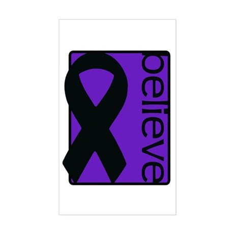Purple (Believe) Ribbon Rectangle Sticker