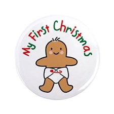 """First Christmas Gingerbread 3.5"""" Button"""