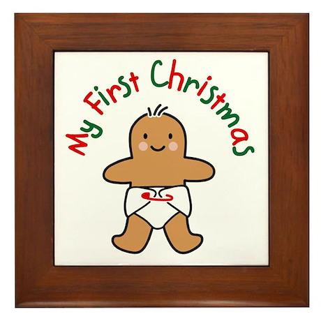 First Christmas Gingerbread Framed Tile
