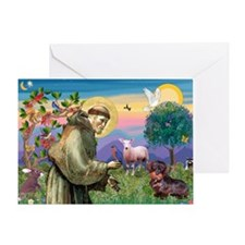 St Francis Doxie Greeting Card