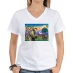 St Francis Doxie Women's V-Neck T-Shirt