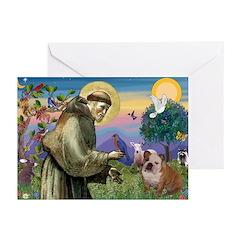 St. Francis & English Bulldog Greeting Cards (Pk o