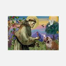 St. Francis & English Bulldog Rectangle Magnet