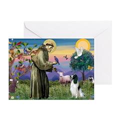 St Francis & English Springer Greeting Cards (Pk o