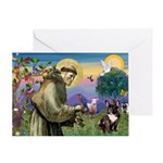 St. Francis Brindle Frenchie Greeting Card