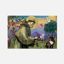 St. Francis Brindle Frenchie Rectangle Magnet