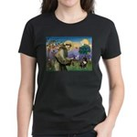 St. Francis Brindle Frenchie Women's Dark T-Shirt
