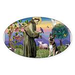 St. Francis & German Shepherd Oval Sticker