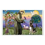 St. Francis & German Shepherd Sticker (Rectangula