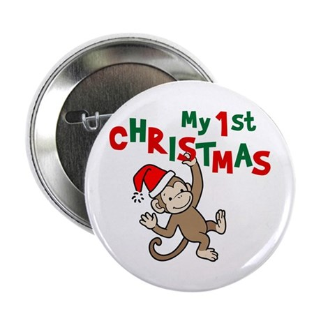 """My First Christmas - Monkey 2.25"""" Button (100 pack"""