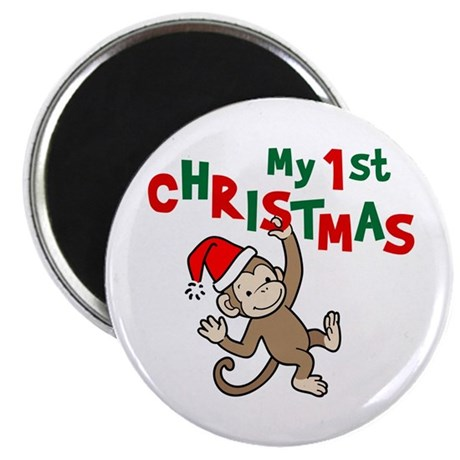 """My First Christmas - Monkey 2.25"""" Magnet (100 pack"""