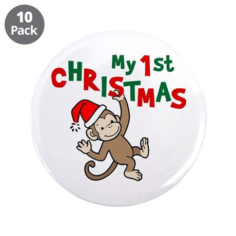 """My First Christmas - Monkey 3.5"""" Button (10 pack)"""