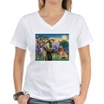 St Francis & Golden Women's V-Neck T-Shirt