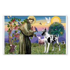 St. Francis & Great Dane Rectangle Decal