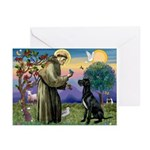 St Francis / Black G-Dane (N) Greeting Cards (Pk o