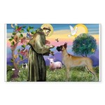 Saint Francis' Great Dane Rectangle Sticker