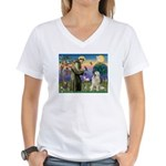 St. Francis & Great Pyrenees Women's V-Neck T-Shi