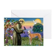 St Francis / Greyhound (f) Greeting Card