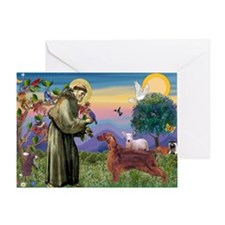 St. Fran./ Irish Setter Greeting Card