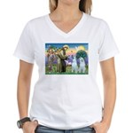 St Francis / 2 Irish Wolfhounds Women's V-Neck T-S