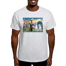 St Francis / 2 Irish Wolfhounds T-Shirt
