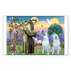 St Francis / 2 Irish Wolfhounds Sticker (Rectangul