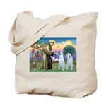 St Francis / 2 Irish Wolfhounds Tote Bag