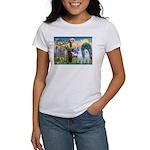 St Francis / 2 Irish Wolfhounds Women's T-Shirt