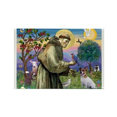 St. Francis & Jack Russell Terrier Rectangle Magn