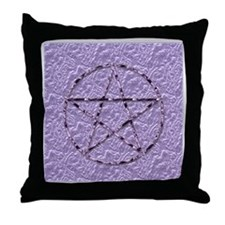Amethyst Wicca Witch Pentagram Throw Pillow
