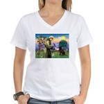 St Francis Chocolate Lab Women's V-Neck T-Shirt
