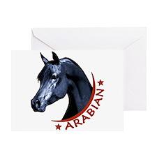 Black Arabian Stallion Greeting Card