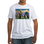 St. Francis/3 Labradors Fitted T-Shirt