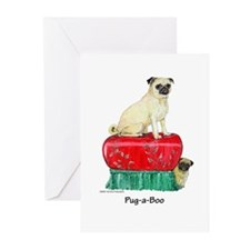 Pug-a-Boo Pug Greeting Cards (Pk of 10)