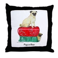 Pug-a-Boo Pug Throw Pillow