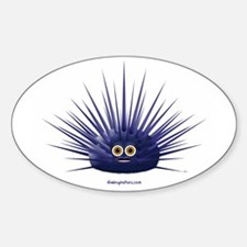 Purple Sea Urchin Oval Stickers