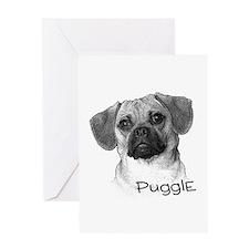 Perfect Puggle Portrait Greeting Card
