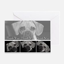 Puggle Thank You Greeting Card